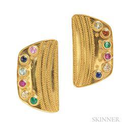 22kt and 18kt Gold Gem-set Earrings, Luna Felix