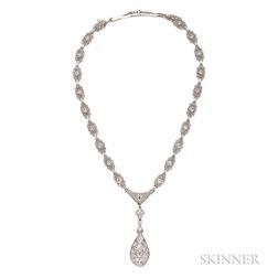 Art Deco Diamond Pendant Necklace