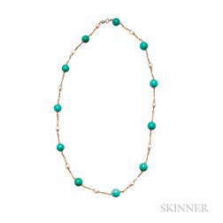 18kt Gold, Turquoise, and Cultured Pearl Chain