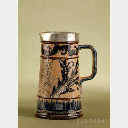 Doulton Lambeth Silver-mounted Salt-glaze Water Pitcher