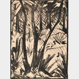 Otto Mueller (German, 1874-1930)      Waldlandschaft mit kleinen Figuren II