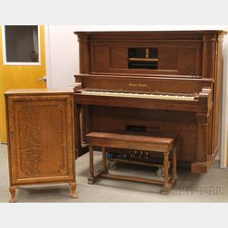 Classical-style Walnut Veneer Mason & Hamlin Player Piano, Bench, and Oak Case
