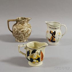 Three English Pottery Pitchers
