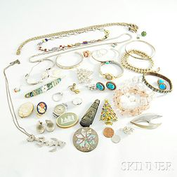 Group of Gold, Sterling Silver, and Costume Jewelry
