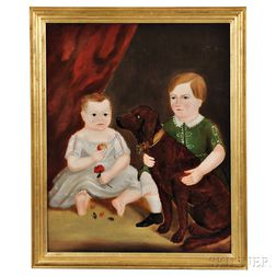 American School, 19th Century    Portrait of Two Children and Their Dog