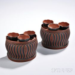 Pair of Wedgwood & Bentley Rosso Antico Crocus Pots and Covers