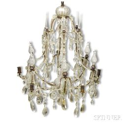 Louis XV Glass and Wrought Iron Six-light Chandelier