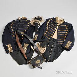 Two Militia Coatees, Epaulets, and a Cartridge Box