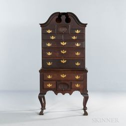Miniature Queen Anne-style Carved Walnut Scroll-top High Chest of Drawers
