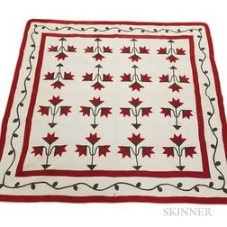 "Appliqued Cotton ""Carolina Lily"" Quilt"
