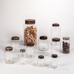 Eleven Blown Glass Storage Jars