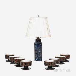Royal Copenhagen Lamp and Eight Scandinavian Ice Cream Bowls