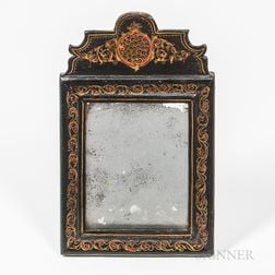 Small Black-painted and Paint-decorated Mirror