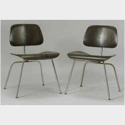 Two Eames-style Molded Plywood and Steel Chairs.