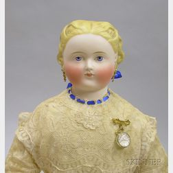Blonde Tinted Parian Shoulder Head Doll