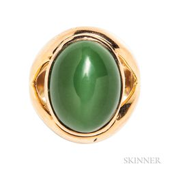 22kt Gold and Green Cat's-eye Actinolite Ring