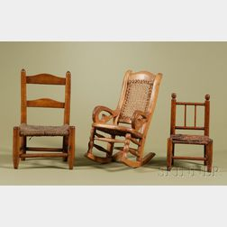 Three American Country Doll Chairs