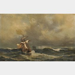 Anton Melbye (Danish, 1818-1875)      Sailing Ships in Heavy Seas