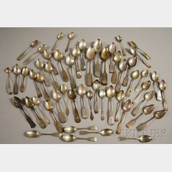 Group of Approximately Fifty Mostly Coin Silver Spoons