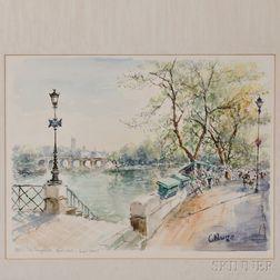 Constantine Kluge (French, 1912-2003)      PARIS: les bouquinistes quai conti