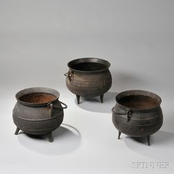 Three Cast Iron Pots