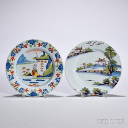 Two Tin-glazed Earthenware Polychrome Decorated Plates