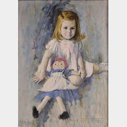 John McClelland (American, b. 1919)      Portrait of a Girl with a Raggedy Ann Doll