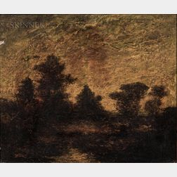Attributed to Ralph Albert Blakelock (American, 1847-1919)    Landscape at Dusk