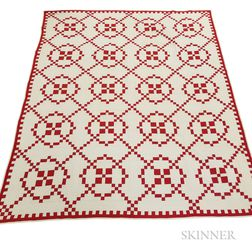 "Pieced and Appliqued Cotton ""Burgoyne Surrounded""  Red and White Quilt"