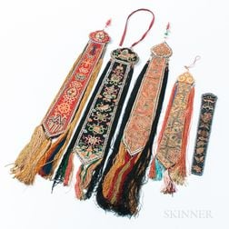 Four Embroidered Tassels and a Fan Case