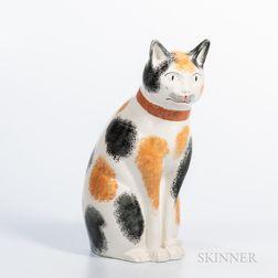 Large Glazed Staffordshire Calico Cat Figure