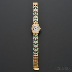 18kt Gold, Emerald, Cultured Pearl, and Diamond Wristwatch, Cartier