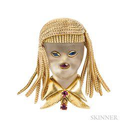 18kt Gold, Rock Crystal, and Gem-set Figural Clip Brooch, Van Cleef & Arpels