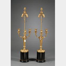 Pair of Empire-style Dore Bronze Three-Light Candelabra