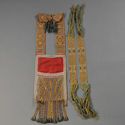 Chippewa Loom-beaded Bandolier Bag and Pair of Garters