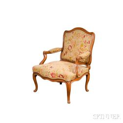 Louis XV Carved Beechwood and Needlepoint-upholstered Fauteuil