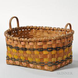 Polychrome Decorated Splint Basket