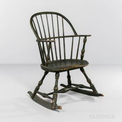 Green-painted and Paint-decorated Windsor Sack-back Rocking Chair
