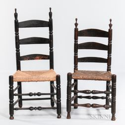 Two Black-painted Turned Slat-back Side Chairs