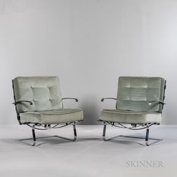 Two Mies van der Rohe-style Lounge Chairs by Sedia