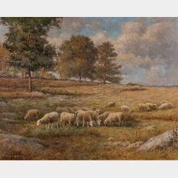 Daniel F. Wentworth (American, 1850-1934)      Sheep Grazing in a Connecticut Field