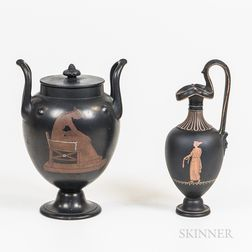 Wedgwood Encaustic Basalt Ewer and an Unmarked Urn