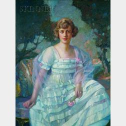 Richard Edward Miller (American, 1875-1943)    Portrait of a Woman Seated in a Landscape