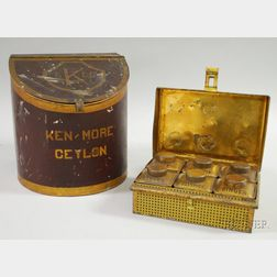 """Painted Tin """"Ken-More Ceylon"""" Tea Retail Counter Bin and a """"Family Spices""""   Lithographed Tin Pantry Spice Box"""