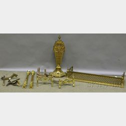 Four Pieces of Continental-style Brass Fireplace Equipment