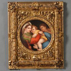 Italian Hand-painted Porcelain Plaque Depicting the Madonna della Seggiola
