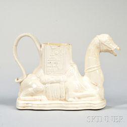 Staffordshire White Salt-glazed Stoneware Camel Teapot