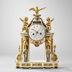 Piolaine White Marble and Ormolu Mantel Clock