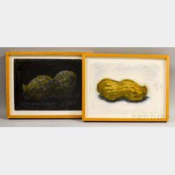 Aaron Fink (American, b. 1955)      Two Peanut Paintings