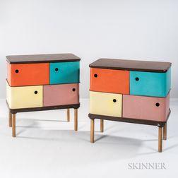 Two Multicolored Storage Units